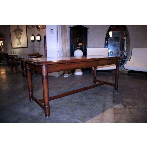 1950s Italian 50's Inlaid Zinc Oak Table For Sale - Image 5 of 9