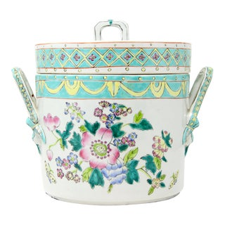 Antique Chinese Famille Rose Lidded Porcelain Ice Bucket For Sale