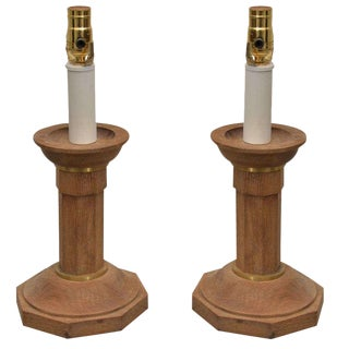 Pair of Oak Candlesticks Converted Into Lamps For Sale