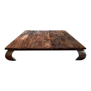 Modern Reclaimed Wood Coffee Table For Sale