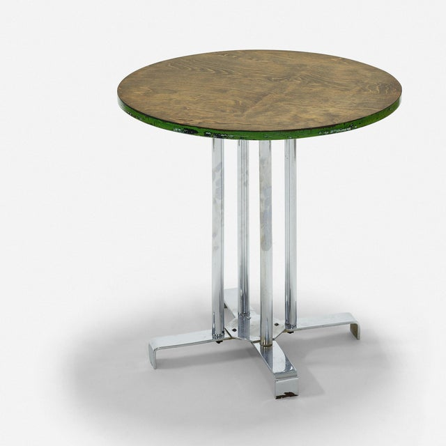 Vintage wood and tubular steel side table with flat bar steel feet, designed by Alfons Bach for Lloyd Loom Products circa...