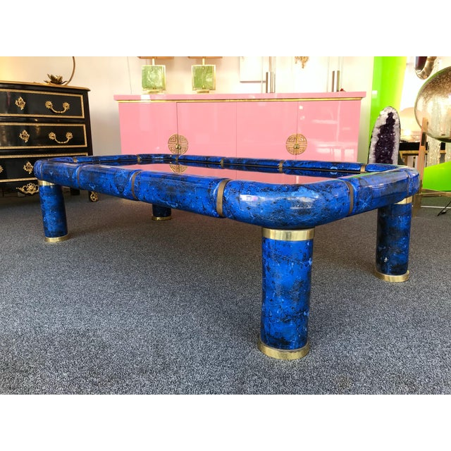 Coffee Low or cocktail table in blue porcelain ceramic in the manner of Lapis Luzuli stone, brass elements, bronze mirror...