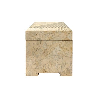 Square Maitland Smith Tessellated Stone Box With Brass Inlay For Sale