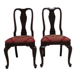 Ethan Allen Georgian Court Queen Ann Dining Room Side Chairs - a Pair For Sale