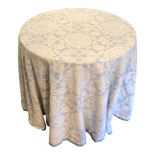 Custom Brunschwig & Fils Marquesas Sea Linen Skirted Tables For Sale