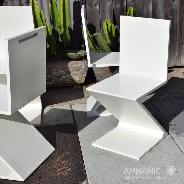 Set of 4 Zig Zag Chairs in White Color For Sale - Image 10 of 10