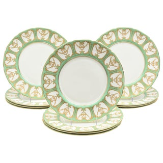 """12 Royal Doulton """"Sevres"""" Green and Gilt Encrusted Dinner Plates. Antique China For Sale"""