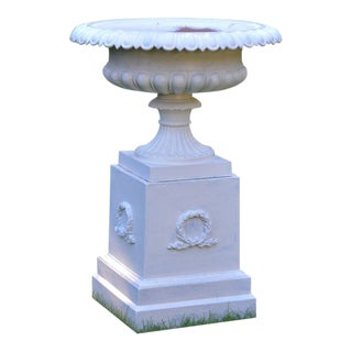 1900s Cast-Iron Tazza Urn on Pedestal For Sale