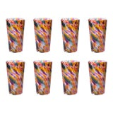 Image of Brad Smith Studios Hand Blown Pint Glasses, Rainbow Mix with White - Set of 8 For Sale