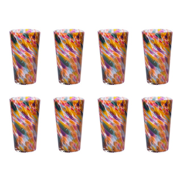 Hand Blown Pint Glasses, Rainbow Mix with White - Set of 8 For Sale