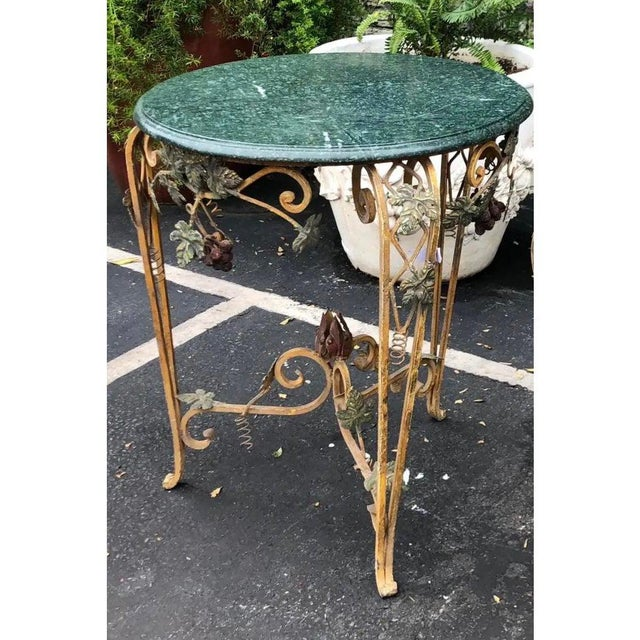 Italian Vintage Iron Tole & Marble Top Grape Vine Garden Table For Sale - Image 3 of 5