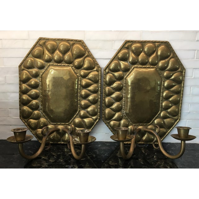 Antique Continental Brass Repousse Wall Candle Sconces - a Pair For Sale - Image 12 of 13
