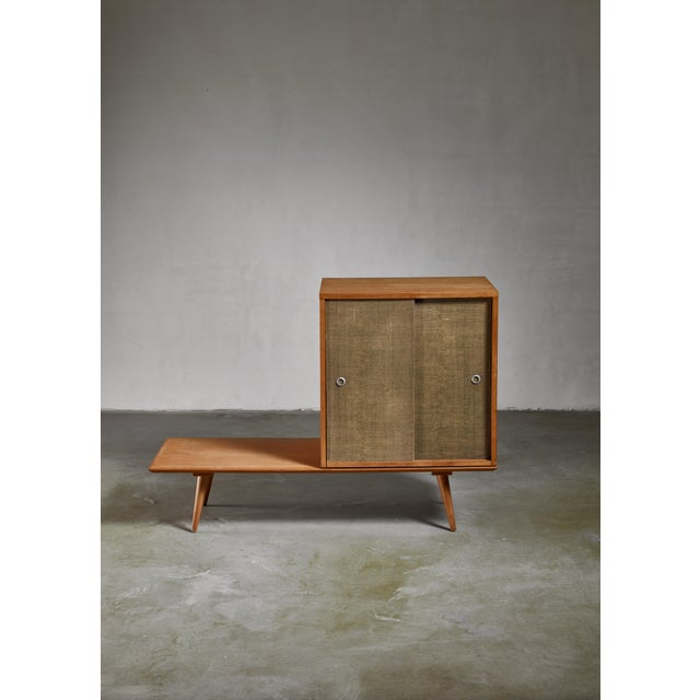 Paul McCobb Planner Group Bench and Grass Cloth Sliding Door Unit For Sale - Image 6 of 6