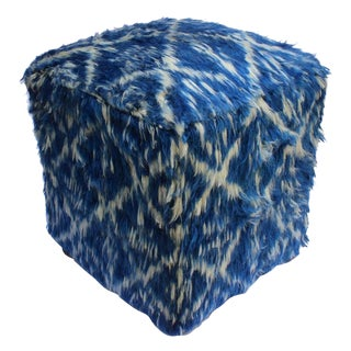 Arshs Corinna Blue/Ivory Morrocan Wool Upholstered Handmade Ottoman For Sale