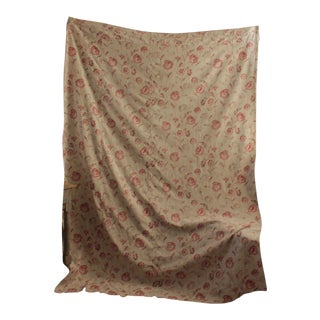 Antique French Curtain Drape Deco Floral Faded English Cottage Style Textile For Sale