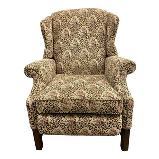 Norwalk Furniture Jungle and Leopard Upholstered Wingback Recliner Chair For Sale