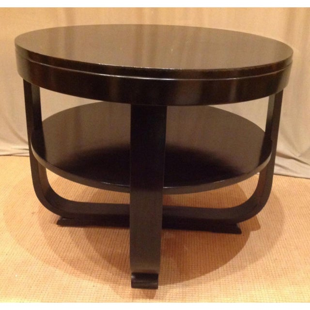 Black Lacquered Round Art Deco Table For Sale - Image 4 of 7