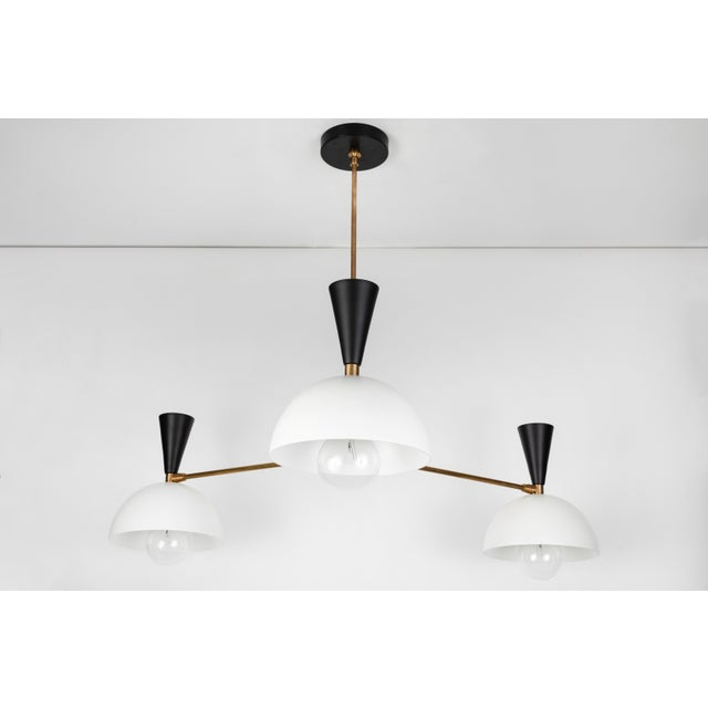 Large Three-Cone 'Lola II' Chandelier in Black and White For Sale In Los Angeles - Image 6 of 9