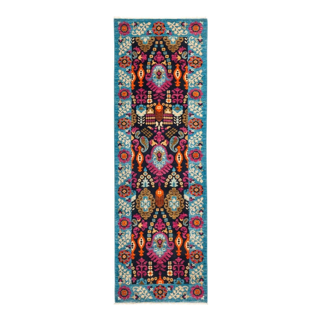 "Suzani Hand Knotted Runner Rug - 2' 8"" X 8' 1"" - Image 1 of 4"