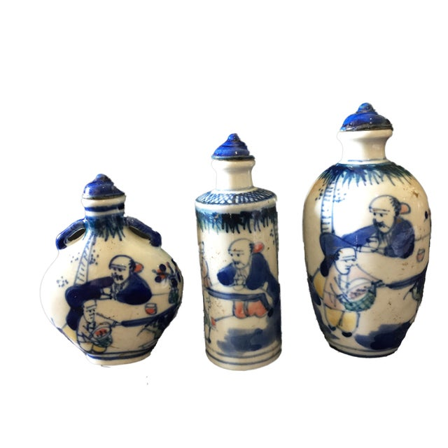 1950s Blue & White Snuff Bottles S/3 For Sale - Image 5 of 8