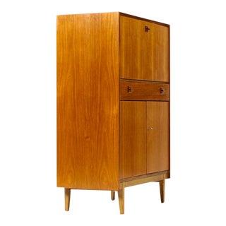 1960s Danish Modern Compact Teak Upright Secretary Desk For Sale