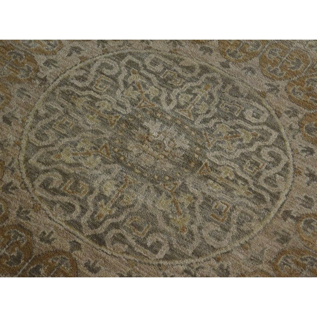 "Origin: India Size: 7'10"" x 7'11"" Design: Mamluk Material: Wool Primary Color: Beige Secondary Color: Tan Description:..."
