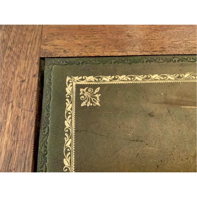 Vintage Georgian Walnut Writing Table With Tooled Leather Top For Sale - Image 9 of 12