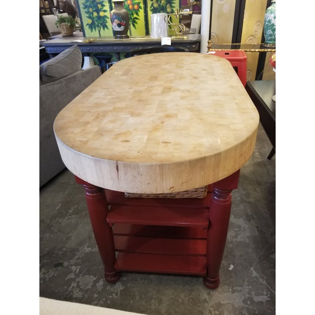Boho Chic John Boos Red Maple Butcher Block Island With 3 Baskets For Sale - Image 3 of 11