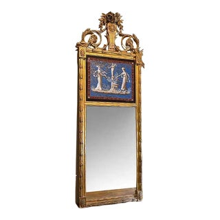 Antique French Empire Mirror With Eglomise For Sale