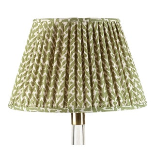 Fermoie Gathered Cotton Lampshade in Green Rabanna, 18 Inch For Sale