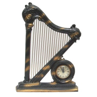 Electric Figural Harp Mantel Clock For Sale