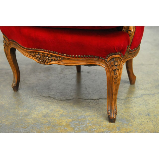 Antique French Louis XV Carved Red Velvet Bergere - Image 9 of 9