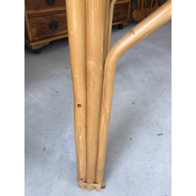 Vintage Bamboo & Glass Top Dining Table For Sale - Image 9 of 11