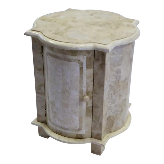 Tesselated Fossil Stone Nightstand End Table from Marquis Collection of Beverly Hills For Sale