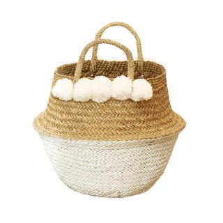 Sea Grass & White Pom Pom Basket