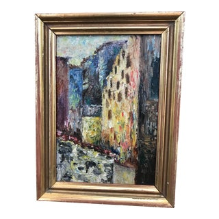 Early 20th Century European Impressionist Style Oil Painting, Framed For Sale