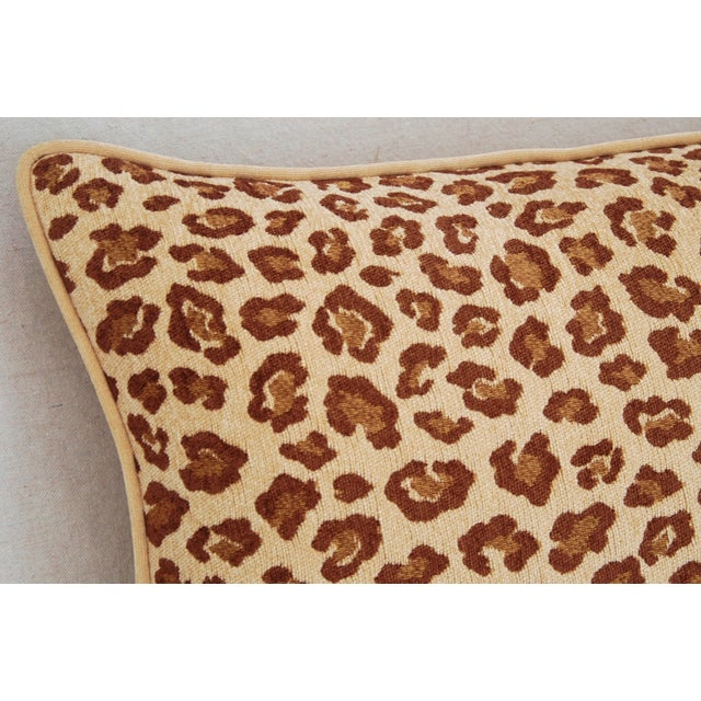 """Leopard Velvet Lumbar Body Feather/Down Pillow 38"""" x 17"""" For Sale In Los Angeles - Image 6 of 10"""