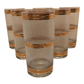 Culver Basketweave Hi-Ball Glasses - Set of 6 For Sale