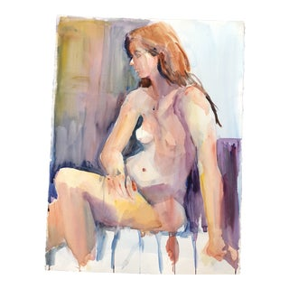 Large Original Vintage Female Nude Study Watercolor For Sale