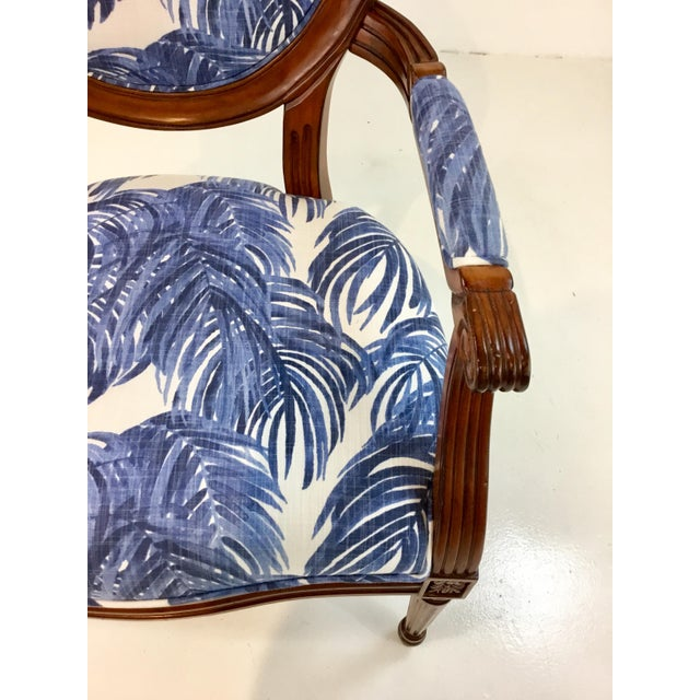 Port 68 Port 68 French Style Blue Palm Print Avery Arm Chair For Sale - Image 4 of 7