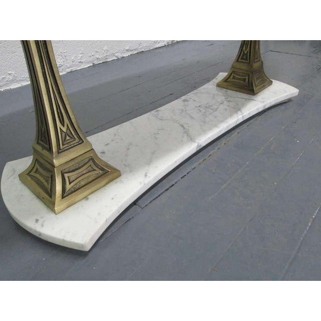 Italian Marble and Brass Oval Top Coffee Table - Image 4 of 6