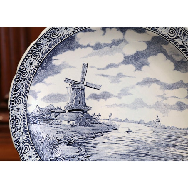English Traditional Early 20th Century Dutch Hand-Painted Bosh Delft Platter With Pastoral Scene For Sale - Image 3 of 8