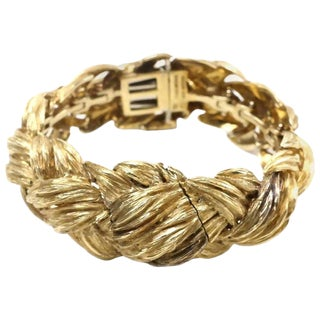 David Webb 18-Karat Gold Weave Watch Bracelet For Sale