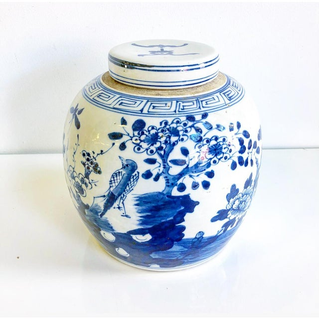 Ceramic Blue & White Chinoiserie Ginger Jar With Lid Bird in Flowering Tree Design Scene For Sale - Image 7 of 7