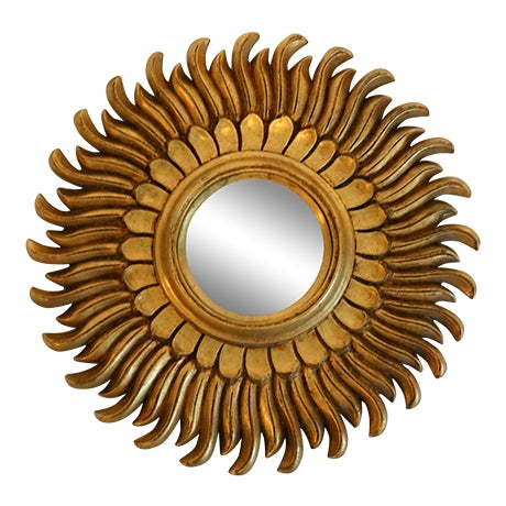 French Gilt Sunburst Convex Mirror For Sale