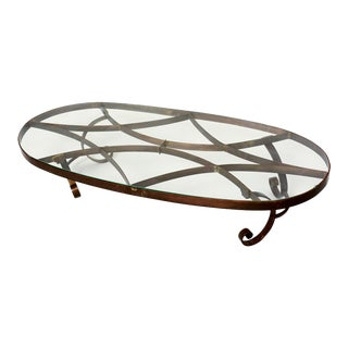 1940s Mexican Oval Brass Coffee Table For Sale