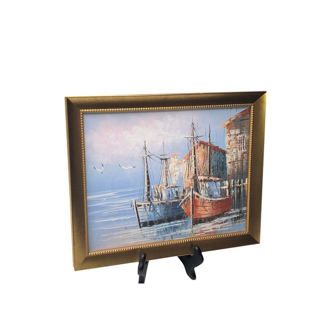 French Boats in Harbor Painting For Sale - Image 4 of 7