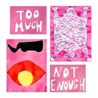 Wild Fuchsia Gallery Wall, Set of 4 For Sale