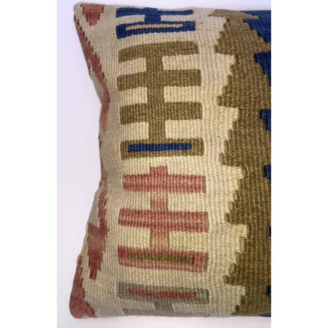 Blue & Brown Handmade Turkish Kilim Pillow Cover - Image 3 of 5