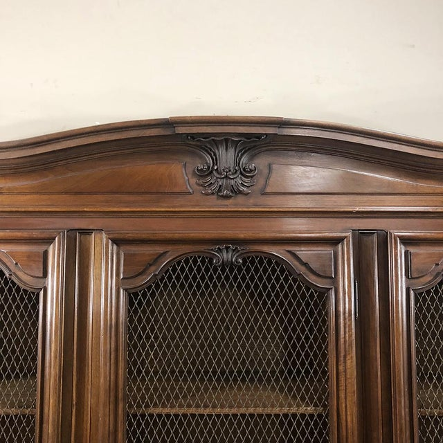 Antique Italian Walnut Piemontese Triple Bookcase For Sale In Dallas - Image 6 of 13